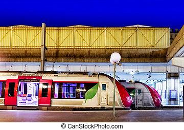 jeûne, train, station., moderne, passager