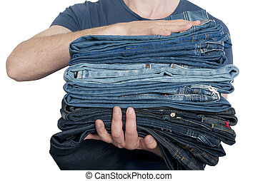 jean, pile, tenue, homme