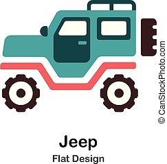 jeep, plat, icône