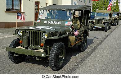 jeep, vieux, trois, mp