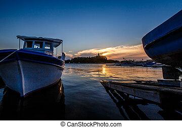 jetée, bateau, coucher soleil, port, fond
