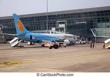 jet, boeing, opéré, konnect, kolkata, aéroport, international, 737-800