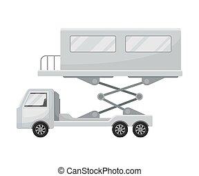 jet, illustration, arrière-plan., vecteur, camion, blanc, bridge.