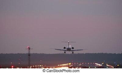 jet, -, piste, commercial, atterrissage, coucher soleil, avion, hd