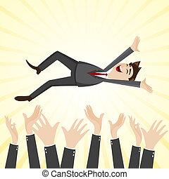 jeter, coéquipier, haut, main, homme affaires, dessin animé, bonheur