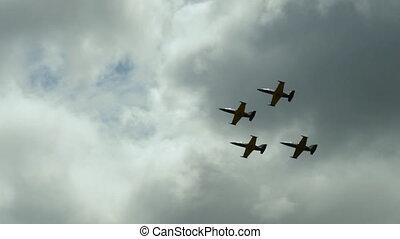 jets, formation volant, quatre