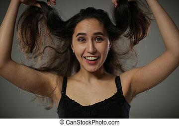 jets, svelte, autour de, faire idiot, elle, cheveux, girl, gai, haut, long