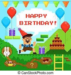 jeu, anniversaire, pixel, carte