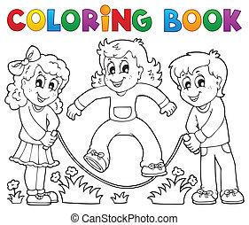 jeu, coloration, gosses, 1, thème, livre
