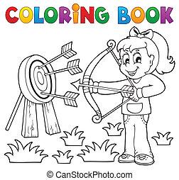 jeu, coloration, gosses, 3, thème, livre