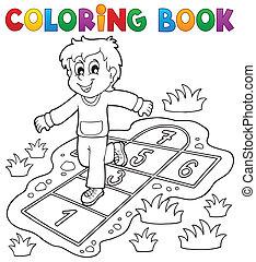 jeu, coloration, gosses, thème, livre, 4