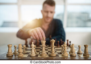 jeu, concept, business, game., stratégie, échecs, tactique, homme affaires