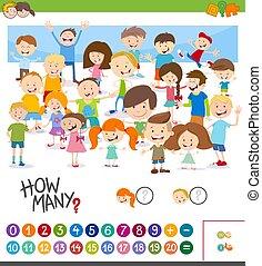 jeu, dénombrement, dessin animé, enfants