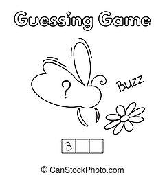 jeu devinant, dessin animé, abeille