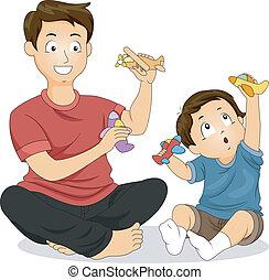 jeu, fils, temps père