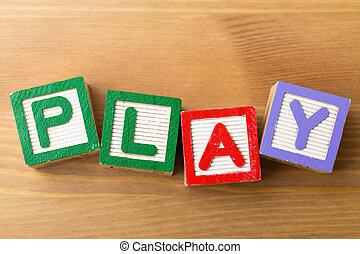 jeu, jouet, bloc