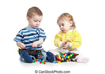 jeu, jouet, enfants, mosaïque