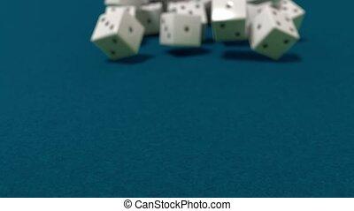 jeu, lent, dés, casino, dof, mouvement, vegas, closeup, rouler, jeux & paris