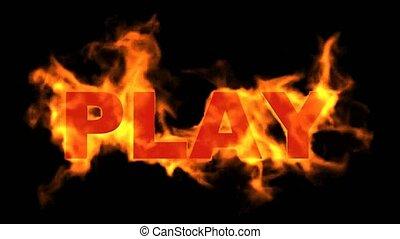 jeu, mot, brûler, signe.