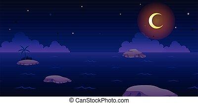 jeu, océan, fond, nuit