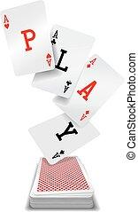 jeu, pont, main poker, cartes, as