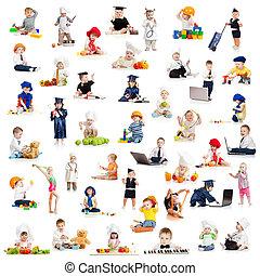 jeu, professions, bébé, enfants, gosses