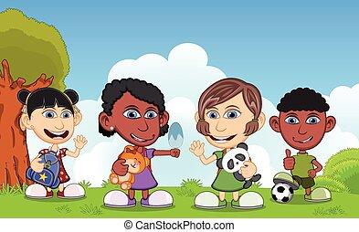 jeu, rue, dessin animé, enfants