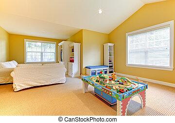 jeu, salle gosses, jaune, beige, blanc, sofs, moquette