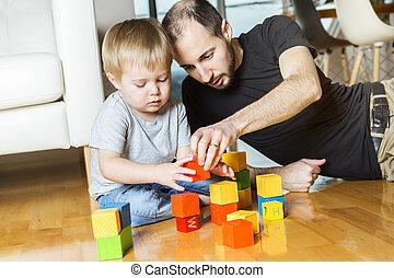 jeu, sien, père, fils, maison, bloc