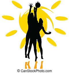 jeu, silhouette, soleil, deux, volley-ball, girl