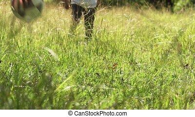 jeu, sport, pratique, père, fils, comment, enseignement, football