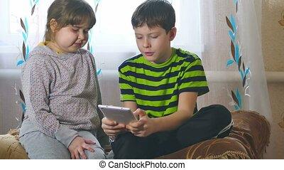 jeu, tablette, enfants