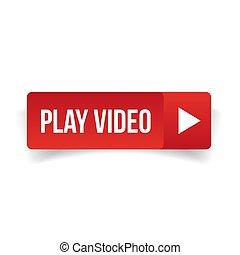 jeu, vecteur, vidéo, bouton, rouges