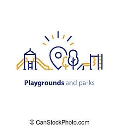 jeu, zone, parc, équipement, cour de récréation, enfants, local