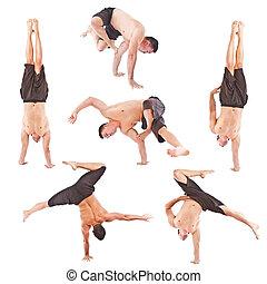 jeune, acrobaties, homme, ensemble, gymnastique