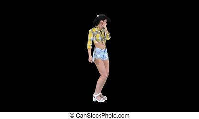 jeune, alpha, danse, cowgirl, canal