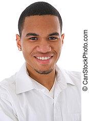 jeune, américain, headshot, africaine, sourire, mâle