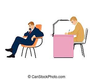 jeune, deux, bureau, homme