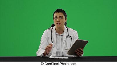 jeune docteur, manteau, laboratoire