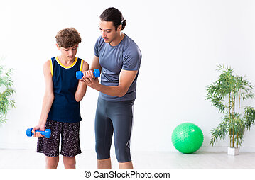 jeune, exercices, fils, sien, père
