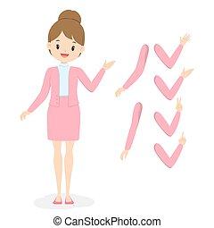jeune fille, rose, main, plat, vecteur, vêtements, bras, poses., business, illustration., femme, uniform., bureau, différent, dessin animé