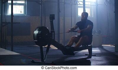 jeune, formation, aviron, lent, utilisation, machine., motion., homme, gym.