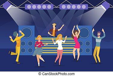jeune, groupe, gens, boîte nuit, grand, danse