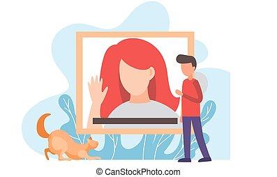 jeune homme, owners., blog, chouchou, pets., debout, vidéo, sur, regarder, émission, joueur, chat