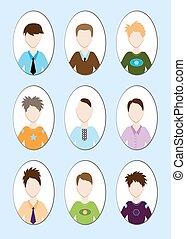jeune, illustration, dessin animé, cheveux, vecteur, divers, beau, style., homme
