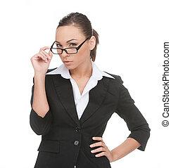 jeune, isolé, regarder, confiant, quoique, appareil photo, businessman., homme affaires, blanc, lunettes