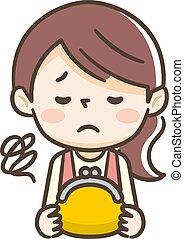 jeune, jaune, triste, portefeuille, femme foyer, a, expression