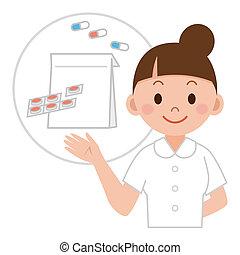 jeune, médecine, infirmière