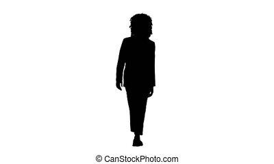 jeune, marche., bouclé, africaine, silhouette