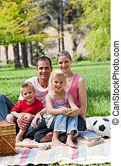 jeune, parc, portrait famille
